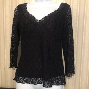 Beautiful Axcess Black Lace Top. Size M.